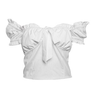 Ruffled Scrunched Top - White